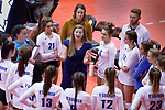 November 22, 2019; Rapid City, SD, USA; Sioux Falls O'Gorman head volleyball coach Emily McCourt during a timeout against Huron at the 2019 South Dakota State Volleyball Championships at the Rushmore Plaza Civic Center in Rapid City, S.D. (Richard Carlson/Inertia)