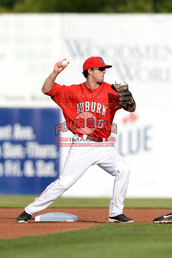 Auburn Doubledays second baseman Matt Foat (15) attempting to turn a double play during the first game of a double header against the Batavia Muckdogs on August 28, 2013 at Falcon Park in Auburn, New York.  Auburn defeated Batavia 2-0.  (Mike Janes/Four Seam Images)
