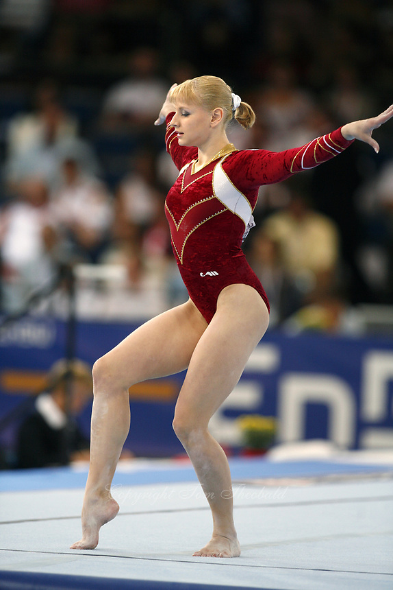 Sep 1, 2007; Stuttgart, Germany; Alina Kozich of Ukraine performs on floor exercise during qualifiying rounds of women's artistic gymnastics team competition at 2007 World Championships. Photo by Tom Theobald. Copyright 2007 by Tom Theobald