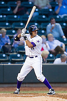 Nick Basto (12) of the Winston-Salem Dash at bat against the Wilmington Blue Rocks at BB&T Ballpark on April 3, 2014 in Winston-Salem, North Carolina.  The Blue Rocks defeated the Dash 3-1.  (Brian Westerholt/Four Seam Images)