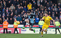 Max Kretzschmar of Wycombe Wanderers controls the ball under pressure from Ollie Clarke of Bristol Rovers during the Sky Bet League 2 match between Wycombe Wanderers and Bristol Rovers at Adams Park, High Wycombe, England on 27 February 2016. Photo by Andy Rowland.