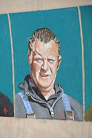CULTUUR: GOINGARIJP: 04-05-2015, Fok SKS Skûtsjes en portretten van de schippers geschilderd door oud skûtsjeschipper Anne Tjerkstra, Rienk Zwaga, ©foto Martin de Jong