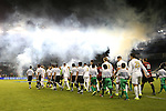 11 December 2015: The players march onto the field as a volley of fireworks is set off in the background. The Akron University Zips played the Stanford University Cardinal at Sporting Park in Kansas City, Kansas in a 2015 NCAA Division I Men's College Cup Semifinal match. The game ended in a 0-0 tie after overtime. Stanford advanced to the Final by winning the penalty kick shootout 8-7. (Photograph by Andy Mead/YCJ/Icon Sportswire)