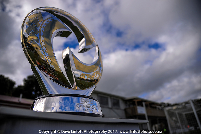 The trophy stands on display during the Oceania Football Championship final (second leg) football match between Team Wellington and Auckland City FC at David Farrington Park in Wellington, New Zealand on Sunday, 7 May 2017. Photo: Dave Lintott / lintottphoto.co.nz