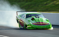 Jun. 15, 2012; Bristol, TN, USA: NHRA pro mod driver Chip King has a chute failure and crashes hard into the catch net at the end of the gravel trap during qualifying for the Thunder Valley Nationals at Bristol Dragway. Mandatory Credit: Mark J. Rebilas-
