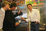 Daniel Cosgrove, Frank Dicopoulos & Kurt McKinney make ice cream cones - Guiding Light's actors meet fans at Stacy Jo's Ice Cream in McKees Rocks, PA on September 30, 2009. During the weekend of events proceeds from pink ribbon bagel sales at various Panera Bread locations will benefit the Young Women's Breast Cancer Awareness Foundation. (Photo by Sue Coflin/Max Photos)