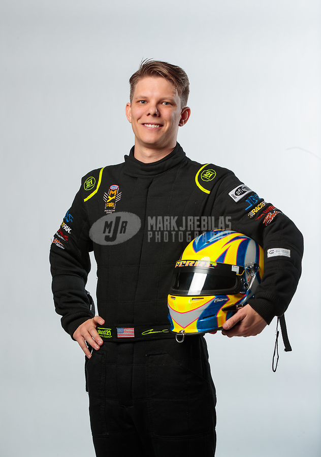 Feb 6, 2019; Pomona, CA, USA; NHRA top fuel driver Cameron Ferre poses for a portrait during NHRA Media Day at the NHRA Museum. Mandatory Credit: Mark J. Rebilas-USA TODAY Sports