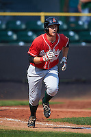 Great Lakes Loons designated hitter Federico Celli (25) runs to first during a game against the Clinton LumberKings on August 16, 2015 at Ashford University Field in Clinton, Iowa.  Great Lakes defeated Clinton 3-2 in ten innings.  (Mike Janes/Four Seam Images)