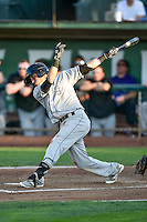 Jose Gomez (3) of the Grand Junction Rockies follows through on his swing against the Ogden Raptors during the Pioneer League game at Lindquist Field on August 24, 2016 in Ogden, Utah. The Raptors defeated the Rockies 11-10. (Stephen Smith/Four Seam Images)