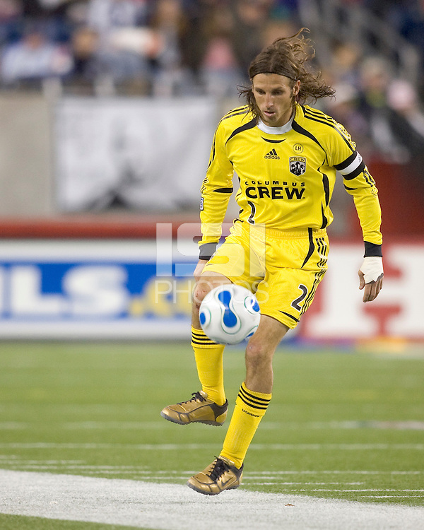 Columbus Crew defender (2) Frankie Hejduk collects the ball at midfield. The Columbus Crew defeated the New England Revolution 3-2 at Gillette Stadium in Foxborough, MA on October 13, 2007.