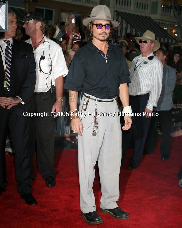 "Johnny Depp.""Pirates of the Caribbean: Dead Man's Chest"" Premiere.Disneyland .Anaheim, CA.June 14, 2006.©2006 Kathy Hutchins / Hutchins Photo...."