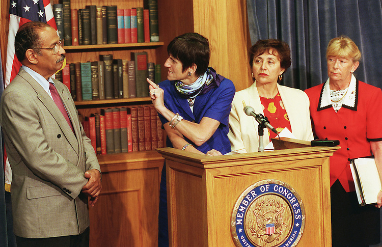 5/8/99.HOUSE CRIME BILL--Rosa DeLauro, D-Conn., points at Judiciary ranking member John Conyers Jr., D-Mich., during a news conference pushing for open debate on a gun-control package from Judiciary Chairman Henry J. Hyde, R-Ill., similar to the Senate-passed measure. House leaders moved the measure to the floor next week instead of allowing committee action. Looking on are Nita Lowey, D-N.Y., and Carolyn McCarthy, D-N.Y..CONGRESSIONAL QUARTERLY PHOTO BY SCOTT J. FERRELL