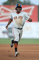Brian Ragira (55) of the San Jose Giants runs the bases during a game against the Inland Empire 66ers at San Manuel Stadium on May 30, 2015 in San Bernardino, California. Inland Empire defeated San Jose, 6-4. (Larry Goren/Four Seam Images)