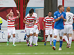 Hamilton Accies v St Johnstone...16.08.14  SPFL<br /> Darian MacKinnon celebrates his goal<br /> Picture by Graeme Hart.<br /> Copyright Perthshire Picture Agency<br /> Tel: 01738 623350  Mobile: 07990 594431
