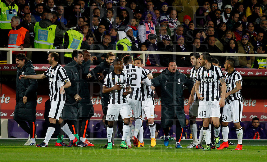 Calcio, Coppa Italia: semifinale di ritorno Fiorentina vs Juventus. Firenze, stadio Artemio Franchi, 7 aprile 2015. <br /> Juventus' Alessandro Matri, center, back to camera, celebrates with teammates after scoring during the Italian Cup semifinal second leg football match between Fiorentina and Juventus at Florence's Artemio Franchi stadium, 7 April 2015.<br /> UPDATE IMAGES PRESS/Isabella Bonotto