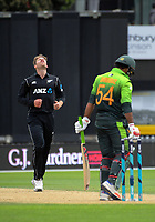 Lockie Ferguson shows his frustration during the One Day International cricket match between the NZ Black Caps and Pakistan at the Basin Reserve in Wellington, New Zealand on Saturday, 6 January 2018. Photo: Dave Lintott / lintottphoto.co.nz