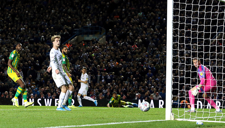 Leeds United's Patrick Bamford looks on as Ezgjan Alioski's deflected shot beats West Bromwich Albion's Sam Johnstone for his sides opening goal<br /> <br /> Photographer Rich Linley/CameraSport<br /> <br /> The EFL Sky Bet Championship - Tuesday 1st October 2019  - Leeds United v West Bromwich Albion - Elland Road - Leeds<br /> <br /> World Copyright © 2019 CameraSport. All rights reserved. 43 Linden Ave. Countesthorpe. Leicester. England. LE8 5PG - Tel: +44 (0) 116 277 4147 - admin@camerasport.com - www.camerasport.com