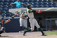 Fort Wayne TinCaps outfielder Buddy Reed (9) swings the bat against the West Michigan Michigan Whitecaps during the Midwest League baseball game on April 26, 2017 at Fifth Third Ballpark in Comstock Park, Michigan. West Michigan defeated Fort Wayne 8-2. (Andrew Woolley/Four Seam Images via AP Images)