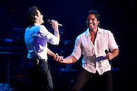 MIAMI, FL - AUGUST 3, 2012: Marc Anthony and Chayanne during the Gigant3s concert featuring, Marc Anthony, Chayanne and Marco Anotonio Solis at the American Airlines Arena in Miam, Florida. August 3, 2012. &copy;&nbsp;Majo Grossi/MediaPunch Inc. /NortePhoto.com<br />