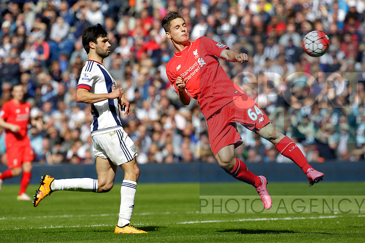 Sergi Canos of Liverpool goes close with a glancing header during the Barclays Premier League match at The Hawthorns.  Photo credit should read: Malcolm Couzens/Sportimage