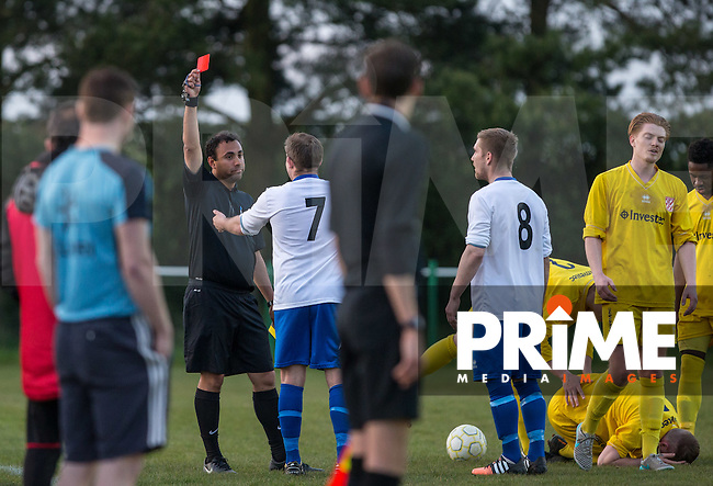 Tom Elliot of Pitstone & Ivinghoe is shown a straight red by the referee during the Wycombe Senior Cup FINAL match between Flackwell Heath and Pitstone & Ivinghoe at Holmer Green Football Club, High Wycombe, Bucks. England on 5 May 2016. Photo by Andy Rowland.