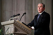 Former President George W. Bush speaks during the State Funeral for his father, former President George H.W. Bush, at the National Cathedral, Wednesday, Dec. 5, 2018, in Washington. <br /> Credit: Alex Brandon / Pool via CNP
