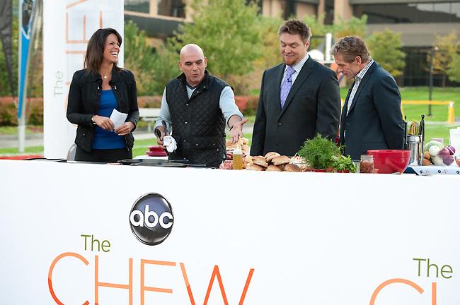 "October  14, 2011 - Bristol, CT - Campus Green: ABC's ""The Chew"" Chef Michael Symon ESPN First Take's Dana Jacobson, Jon Ritchie, and Skip Bayless .Credit: Joe Faraoni"