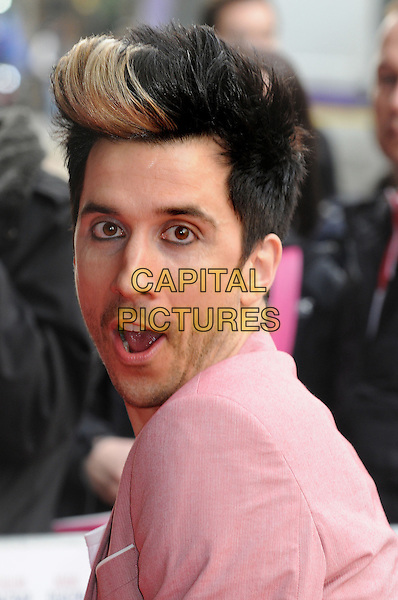 Russell Kane.UK Premiere of 'Outside Bet' at Cineworld, Haymarket, London, England..April 24th 2012.headshot portrait pink side dyed blonde hair streak mouth open funny .CAP/BK/PP.©Bob Kent/PP/Capital Pictures.