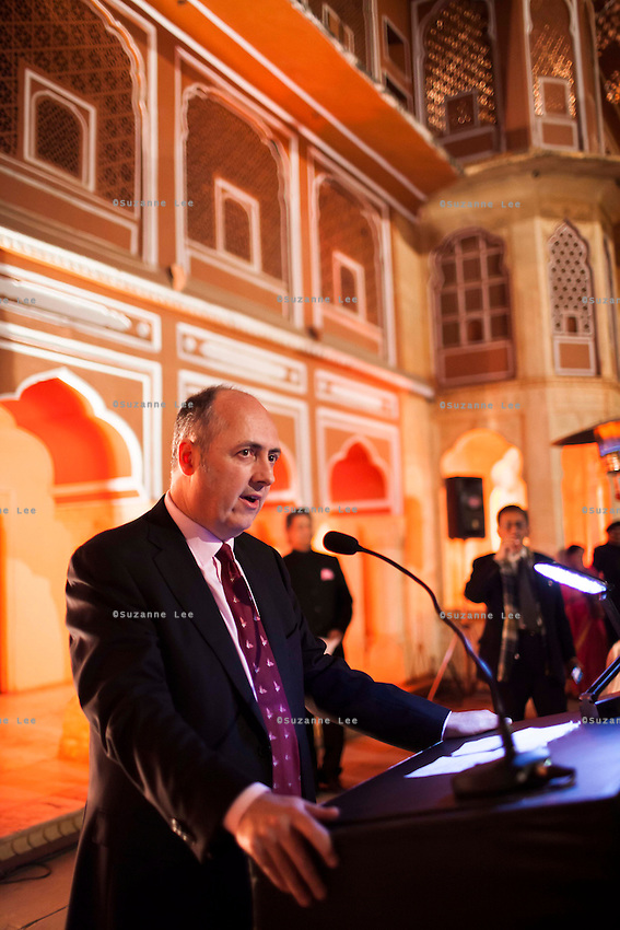 Dr. Lachlan Strahan, Australian High Commissioner to India, gives a speech before a violin recital at the OzFest Gala Dinner in the Jaipur City Palace, in Rajasthan, India on 10 January 2013. Photo by Suzanne Lee