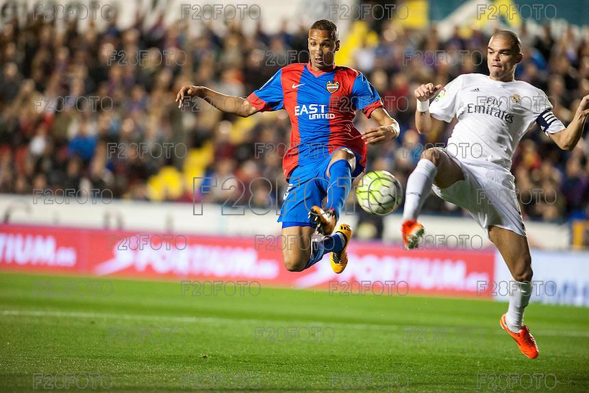 VALENCIA, SPAIN - MARCH 2: Lerma, Pepe during BBVA League match between VLevante U.D. and R. Madrid at Ciudad de Valencia Stadium on March 2, 2015 in Valencia, Spain