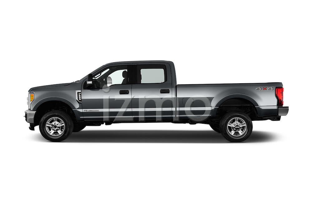 Car Driver side profile view of a 2017 Ford F-250 XLT-Crew 4 Door Pick-up Side View