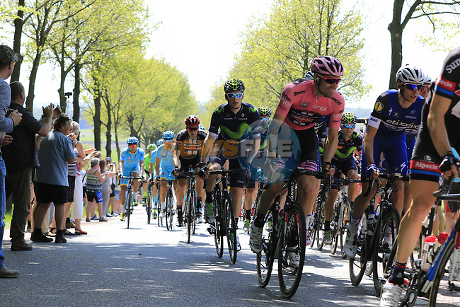 The peloton led by Team Giant-Alpecin with race leader Tom Dumoulin Maglia Rosa at Deelen during Stage 2 of the 2016 Giro d'Italia running 190km from Arnhem to Nijmegen, The Nethrerlands. 7th May 2016.<br /> Picture: Eoin Clarke | Newsfile<br /> <br /> <br /> All photos usage must carry mandatory copyright credit (&copy; Newsfile | Eoin Clarke)