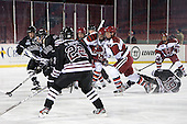 Opening face-off. - The Union College Dutchmen defeated the Harvard University Crimson 2-0 on Friday, January 13, 2012, at Fenway Park in Boston, Massachusetts.