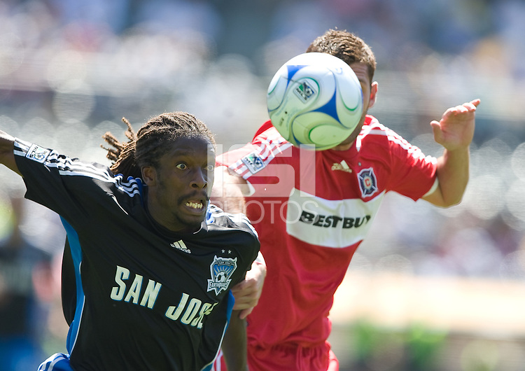 Gavin Clinton fights for the ball,.Chicago Fire over the San Jose Earthquakes 0-1, Saturday, April 12, 2008, Oakland, California.
