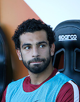 Calcio, Serie A: Frosinone vs Roma. Frosinone, stadio Comunale, 12 settembre 2015.<br /> Roma's Mohamed Salah sits on the bench prior to the start of the Italian Serie A football match between Frosinone and Roma at Frosinone Comunale stadium, 12 September 2015.<br /> UPDATE IMAGES PRESS/Isabella Bonotto