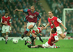 Mark Draper of Aston Villa tackled by Ian Wright of Arsenal - Barclays Premier League - Aston Villa v Arsenal - Villa Park Stadium - Birmingham - England - 2nd December 1995 - Picture Simon Bellis/Sportimage