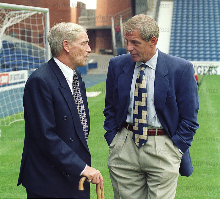 Allan McGraw and Walter Smith at Ibrox ahead of a Rangers - Morton League Cup tie in 1995