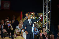 Canton, Ohio - August 1, 2014: Former NFL wide receiver Andre Reed waves as he is introduced to the audience before receiving his gold jacket during the Pro Football Hall of Fame's class of 2014 enshrinement dinner in Canton, Ohio  August 1, 2014. During his 16 seasons in the NFL, Reed had 13 seasons with 50 or more pass receptions (2nd in the NFL).  (Photo by Don Baxter/Media Images International)