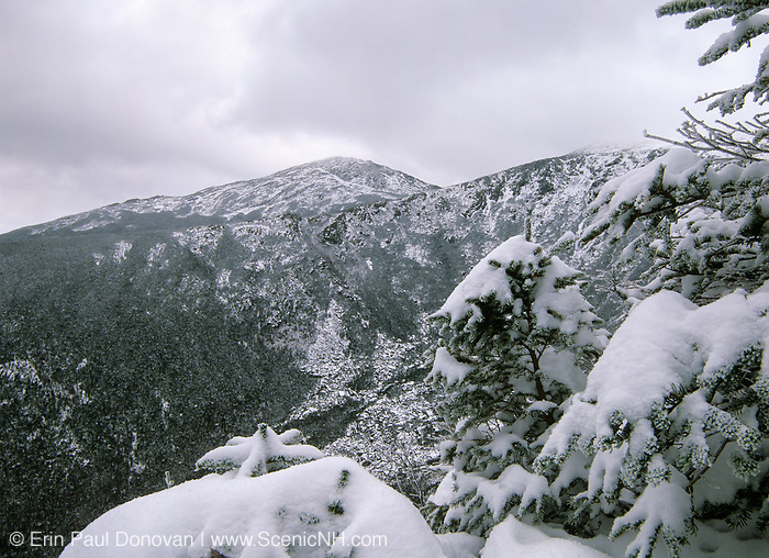 Looking across King Ravine at Mount Madison from Crag Camp in the Northern Presidential Range, which is located in the White Mountain National Forest of New Hampshire USA . Crag Camp was built in 1909 and was the private camp of Nelson H Smith.  A new camp was built in 1993..Note: Example of a winter day  above treeline in the White Mountains.