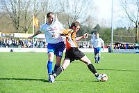 VOETBAL: URK: Sportpark 'de Vormt', SV Urk - Drachtster Boys, 14-04-2012, Zaterdag Hoofdklasse C, Randy Jelies (#10 Urk), Jelmer Mullender (#4 DB) aan de bal, Eindstand 2-3, ©foto Martin de Jong