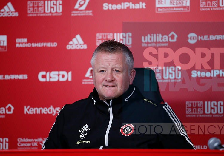 Chris Wilder manager of Sheffield Utd during the Press Conference & Training at the Steelphalt Academy, Sheffield. Picture date: 7th February 2020. Picture credit should read: Simon Bellis/Sportimage
