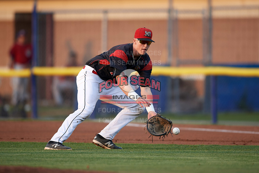 Batavia Muckdogs first baseman Sean Reynolds (15) fields a ground ball during a game against the Mahoning Valley Scrappers on September 5, 2017 at Dwyer Stadium in Batavia, New York.  Mahoning Valley defeated Batavia 4-3.  (Mike Janes/Four Seam Images)