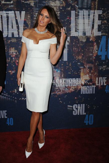 WWW.ACEPIXS.COM<br /> February 15, 2015 New York City<br /> <br /> Melania Trump walking the red carpet at the SNL 40th Anniversary Special at 30 Rockefeller Plaza on February 15, 2015 in New York City.<br /> <br /> Please byline: Kristin Callahan/AcePictures<br /> <br /> ACEPIXS.COM<br /> <br /> Tel: (646) 769 0430<br /> e-mail: info@acepixs.com<br /> web: http://www.acepixs.com