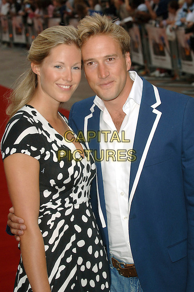 "MARINA HUNT & BEN FOGLE.""You, Me and Dupree"" UK film premiere, Odeon Leicester Square, London, UK..August 22nd, 2006 .Ref: BEL.half length blue black white polka dot.www.capitalpictures.com.sales@capitalpictures.com.©Tom Belcher/Capital Pictures."