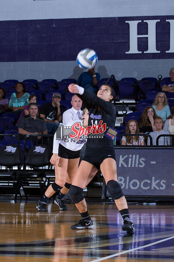 Annemarie Chin (14) of the High Point Panthers digs the ball against the Wake Forest Demon Deacons at the Panther Invitational at the Millis Athletic Center on September 12, 2015 in High Point, North Carolina.  The Demon Deacons defeated the Panthers 3-1.   (Brian Westerholt/Sports On Film)