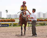 Travelin Man(left) with John Velazquez up win the Sir Shackleton Stakes. Gulfstream Park Hallandale Beach Florida. 03-31-2012