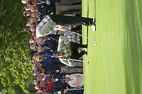 Straffin Co Kildare Ireland. K Club Ruder Cup...American Ryder Cup team members Tiger Woods and Jim Furyk line up their putt on the 15th green on the opening fourball session on the first day of the 2006 Ryder Cup, at the K Club in Straffan, Co Kildare, in the Republic of Ireland, 22 September 2006..Photo: Eoin Clarke/ Newsfile..