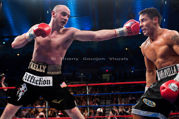 Atlantic City, NJ - 04.17.2010. Kelly Pavlik lands against Sergio Martinez during their WBC/WBO Middleweight championship fight at the Boardwalk Hall. Martinez won by unanimous decision, taking the belts away from Pavlik. Photo by Thierry Gourjon.