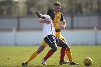 Conor Hogan of Hornchurch and Tofi Gyebi of Witham during Witham Town vs AFC Hornchurch, Bostik League Division 1 North Football at Spa Road on 14th April 2018