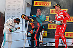 Spanish F1 Grand Prix Pirelli 2017.<br /> Lewis Hamilton (Mercedes),Daniel Ricciardo (Red Bull) &amp; Sebastian Vettel (Ferrari)
